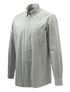Beretta Wood Button Down Shirt Ocher and Light Blue Beretta