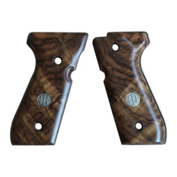 Beretta 92 Series Luxury Walnut Wood Grips w/ Trident Logo Beretta