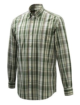 Beretta Wood Button Down Shirt Green Purple and Cream Beretta